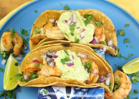 Grilled Shrimp Tacos with Avocado-Lime Crema #ImprovCooking