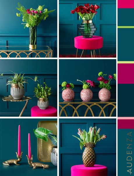 Hot pink and teal color palette inspiration. Colour scheme ideas for your home.