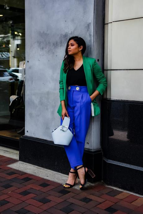 how to wear brights to office, blue pants, green jacket, vinyl heels, statement office look, fashion, style, street style, dc blogger, myriad musings, saumya shiohare