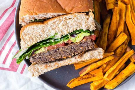 Vegan Black Bean Burgers with Tahini Sauce