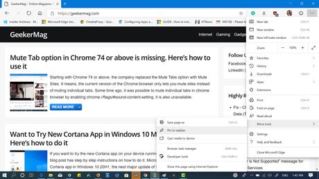 Microsoft Edge Chromium Let You Pin Sites to Taskbar Quickly