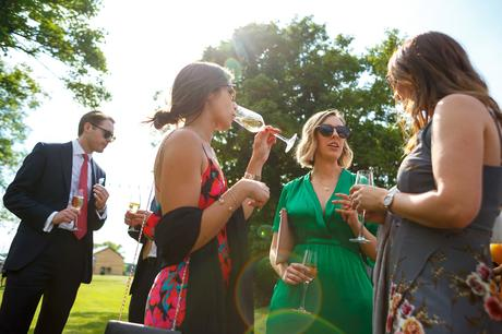 wedding guests enjoying the drinks receptions