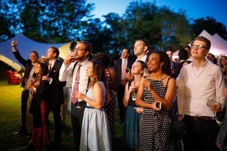 wedding guests enjoying the fireworks