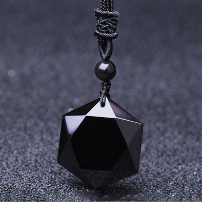Star Of David Black Obsidian pendantNecklace