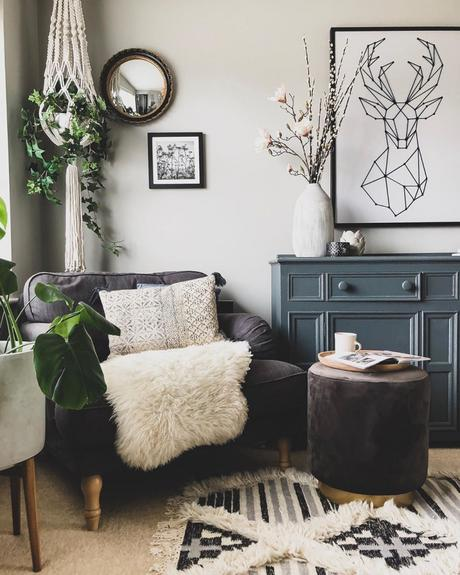 grey sofa in a living room