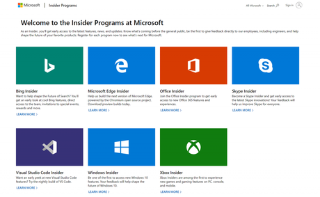 How to Get Access all Microsoft Insider Programs from a single page