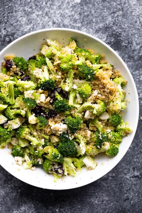overhead view of the broccoli salad recipe in white bowl