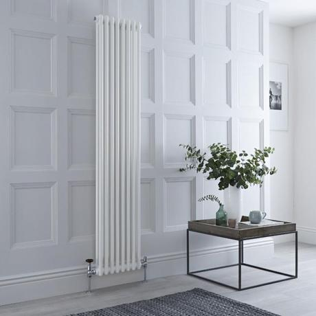 Milano Windsor vertical white column radiator.
