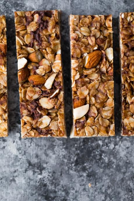 overhead view of the Snickerdoodle Almond Butter Granola Bars