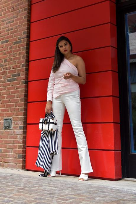white jeans outfit, flared jeans, one shoulder blouse, white mules, stripe jacket, boxed clutch, fashion, style, street style, myriad musings