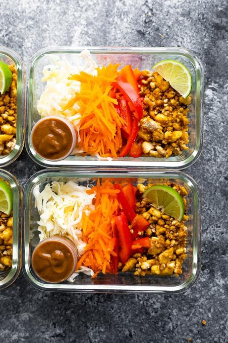 Vegan Spring Roll Bowl Meal Prep in meal prep containers