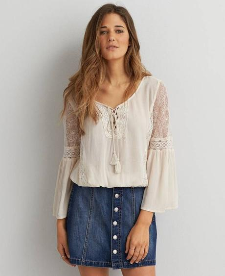 White peasant top with Denim skirt