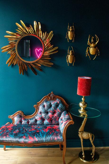 Reupholstered vintage chaise longue in Faunacation Velvet Fabric by Divine Savages. Teal and coral color palette inspiration.