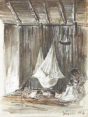 Camille Pissarro - The Complete Works - The interior of a hut with a hammock and an Indian mother with her two children, Galipan - camille-pissarro.org