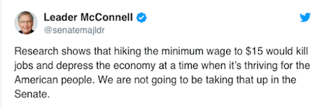 House Raises Minimum Wage To $15 - McConnell Will Block It