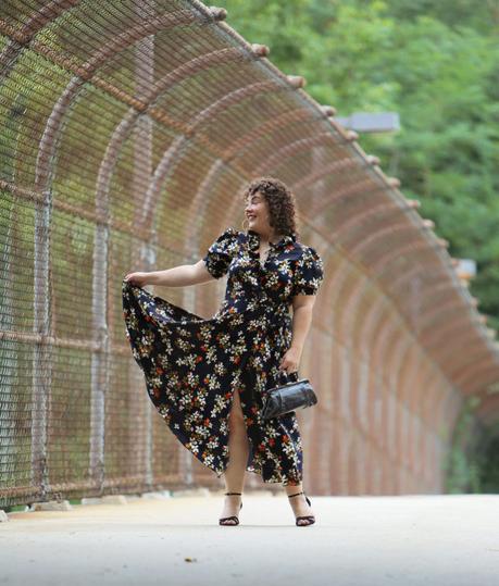 Navy Floral Midi Wrap Dress