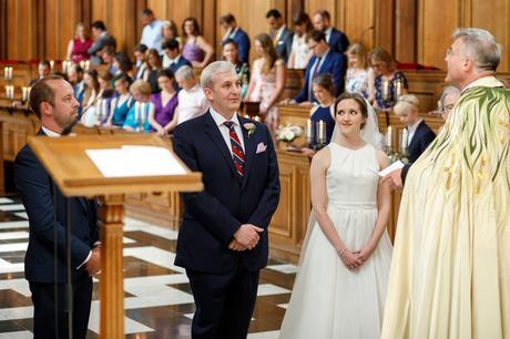 bride and groom exchange looks