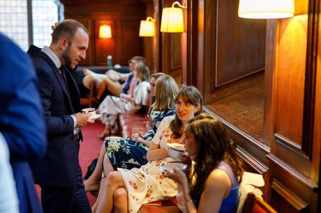 wedding guests in the old library at pembroke college