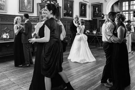 guests join the couple on the dancefloor