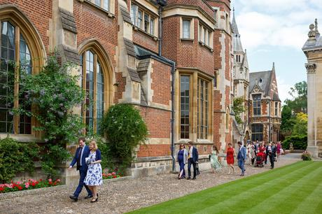 guests walk in for the wedding breakfast at pembroke college