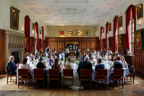a wedding in the dining hall at pembroke college