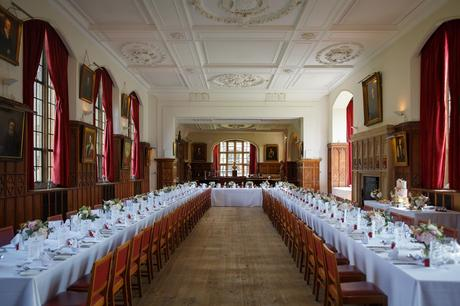 the dining hall at a pembroke college wedding