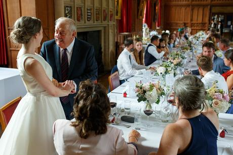 the father of the groom chats to the bride