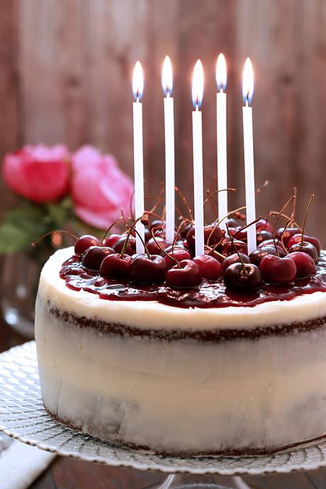 Chocolate Cherry Cake with Mascarpone Frosting