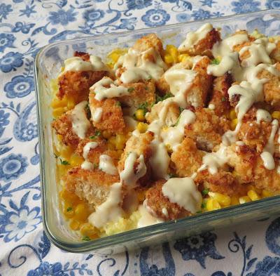 Crispy Chicken with Cheesy Mash & Cream Gravy