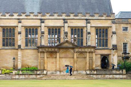 Trinity college cambridge in the rain