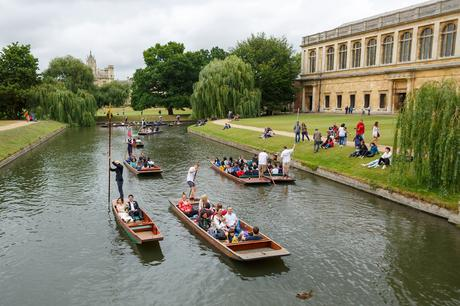 punting at a trinity college wedding