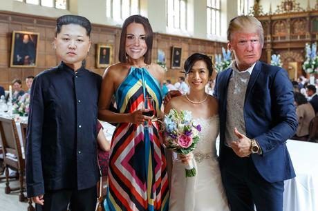 the bride poses with donald trump