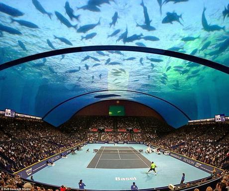 Tennis - on top of Burj al Arab and ..........under sea !!