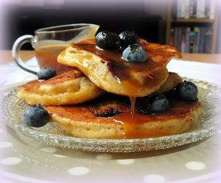 Maple & Caramel Sauced Blueberry Cornmeal Pancakes