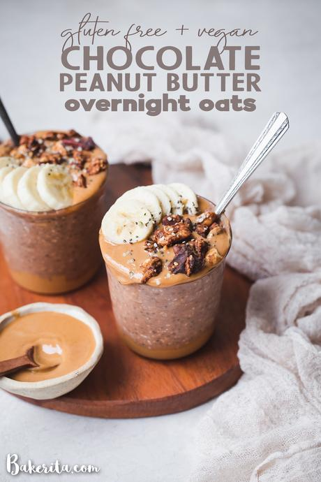 Make breakfast better with this Chocolate Peanut Butter Overnight Oats recipe! Gluten-free, vegan, and made in just 5 minutes, this is an easy make-ahead breakfast you'll make all the time.