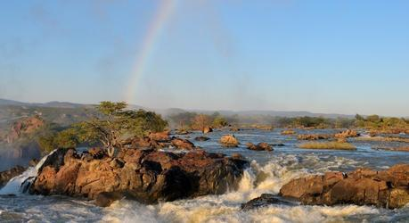 Top of of the Ruacana waterfalls on the border of Namibia and Angola at sunrise, Kunene, Namibia, Africa,
