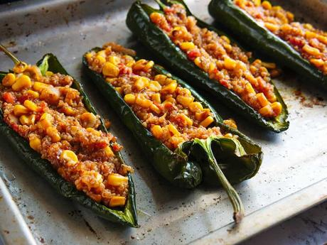 Southwestern Stuffed Poblano Peppers with Quinoa and Corn