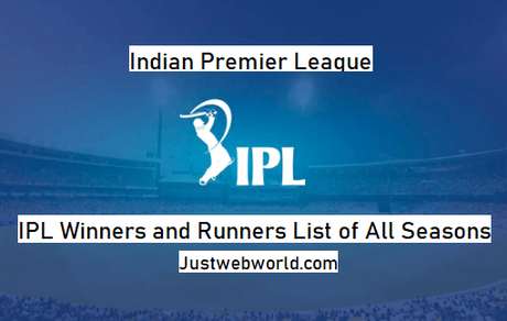 IPL Winners and Runners List of All Seasons (2008 – 2019)