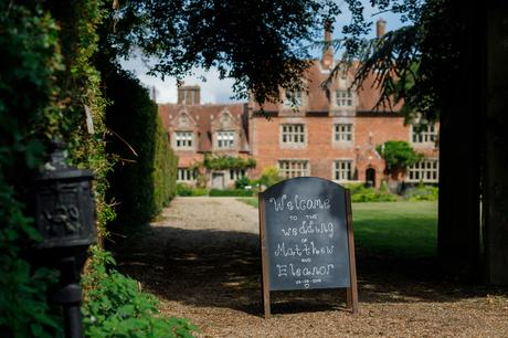 welcome outside a hautbois hall wedding