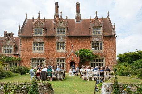 hautbois hall wedding outside on the lawn