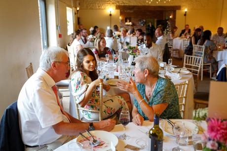 guests talk at a hautbois hall wedding