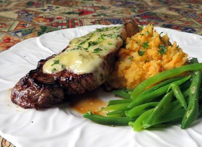 Stilton Steaks with Sweet Potato & Garlic Mash