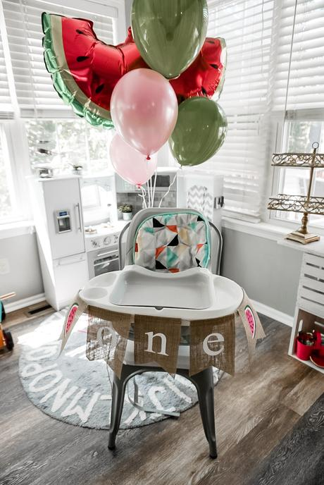 one in a melon first birthday high chair decorations