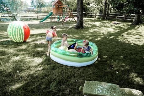 watermelon pool and sprinkler