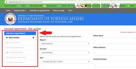 Appointment screen - DFA