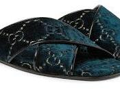 Toes Out, Style Gucci Petrol Leather-Trimmed Logo-Embroidered Velvet Slides