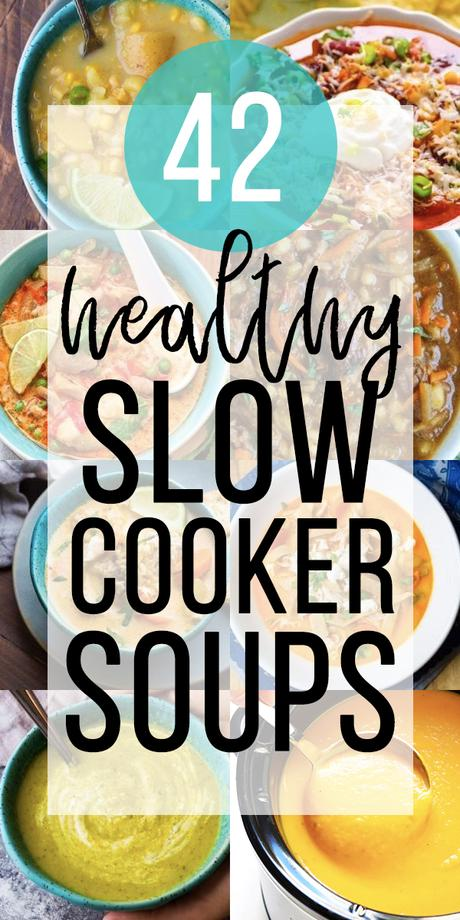 collage image of Healthy Slow Cooker Soup Recipes