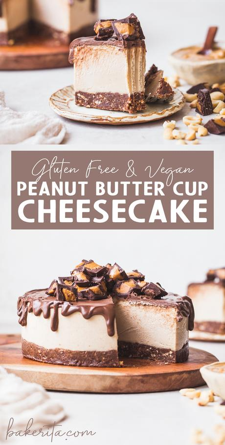 This Gluten-Free Vegan Peanut Butter Cup Cheesecake tastes like your favorite candy turned into a delightfully creamy vegan cheesecake. With a chocolate crust, creamy peanut butter filling, and chocolate ganache topping, you won't be able to have just one bite!
