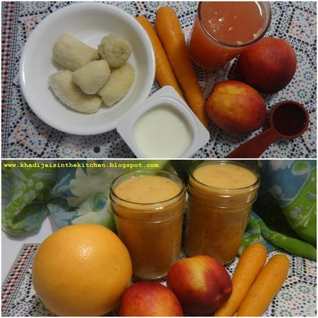 SMOOTHIE AUX PÊCHES, CAROTTES ET PAMPLEMOUSSE / PEACH, CARROT AND GRAPEFRUIT SMOOTHIE / BATIDO DE MELOCOTÓN, ZANAHORIA Y POMELO / عصير الدراق و الجزر و الليمون الهندي (جريب فروت)