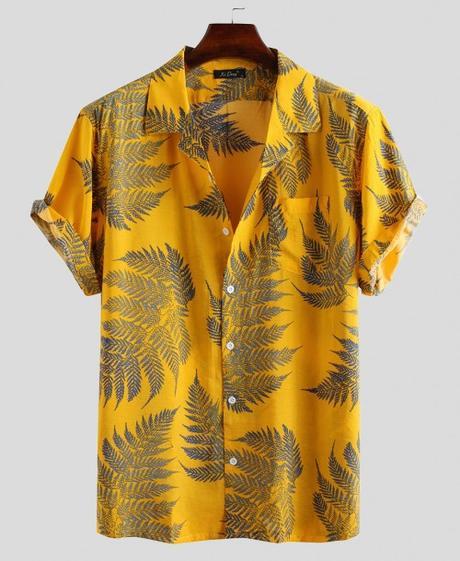 Leaf Printed Hawaiian Shirts $22.99